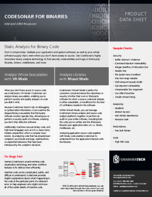 CodeSonar Binaries Datasheet